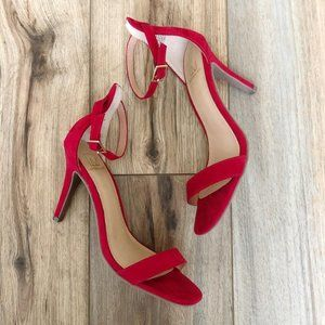 Material Girl Blaire Two-Piece Red Dress Sandals